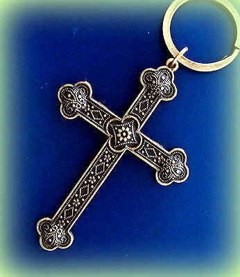 Antique style CROSS Keychain - Medieval Art Nouveau BYZANTINE Style Jewelry