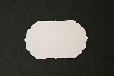 12 x White & Coloured Labels Four 4 Die Cuts Toppers Mats Cards or Scrapbooking