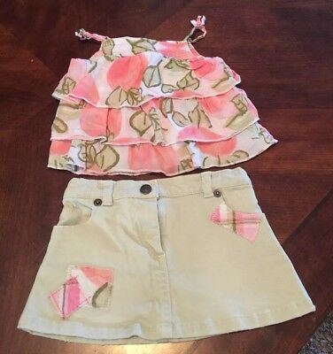 Crazy 8 2-Piece Shirt And Skirt Khaki, Pink & Green Outfit Size 12-18 Months