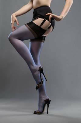 962c86faa NEW GIO Full Contrast Electric Blue Black RHT Reinforced Toe Stockings  Medium