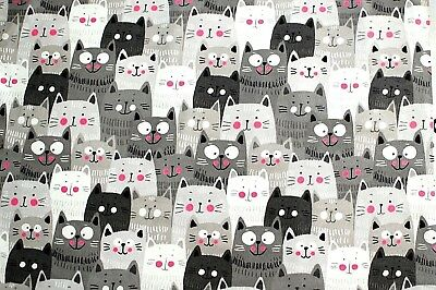 """BTY*ROWS OF LARGE HAPPY SMILING GRAY CATS/PINK CHEEKS FLEECE FABRIC 60x36"""" 1YD"""