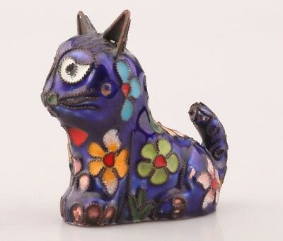 Chinese Cloisonne Pendant Statue Cat Old Handmade Christmas Decoration Gift