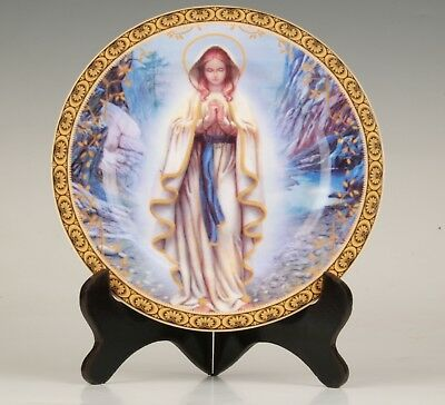 Antique Chinese Porcelain Decoration Plate Virgin Home Collection+Wood Bracket