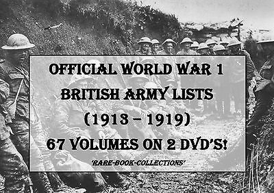 BRITISH WORLD WAR 1 ARMY LISTS ON 2 DVDs - WW1 MEDAL RESEARCH MILITARY HISTORY
