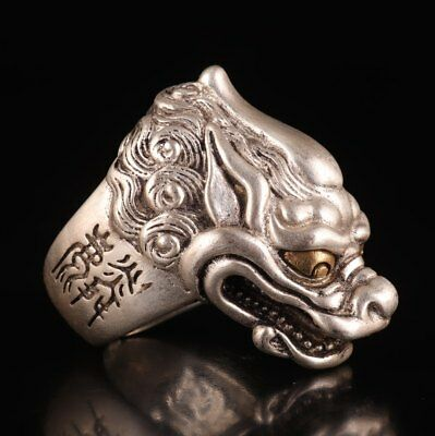 Tibetan Silver Hand Carved Mythological Dragon China Exorcising Ring Collection