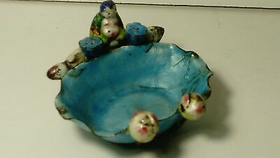 ANTIQUE CHINESE CLOISONNE ENAMEL BUDDHA  DISH damaged chips 10cm wide approx