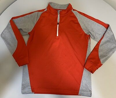 Boys Junior FootJoy FJ red gray 1/2 zip golf pullover Shirt Sweater Youth Large