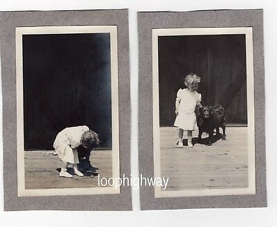 Beautiful Evocative Striking Images Girl w DOG, then Hugs 2 1910s Vtg Old PHOTOS