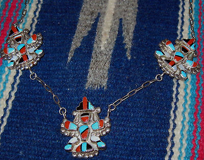 Best Zuni Corita Harker (L Martzas sister) 3 Knifewing Necklace Mosaic Inlay 40s