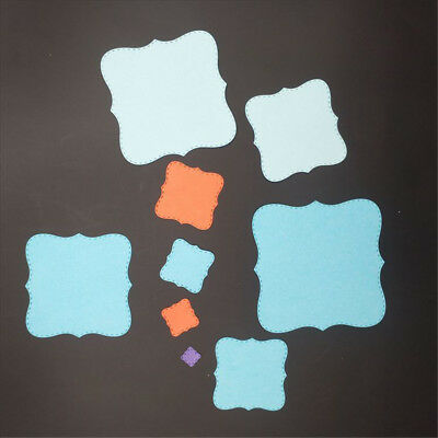 9pcs square metal cutting dies stencil scrapbook album paper embossing craft;