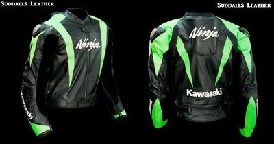Kawasaki Motorcycle Leather Racing Jacket Full Body Protection Ce Approved