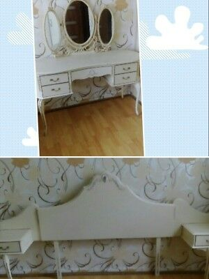 Headboard with bedside tables/ drawers and Louis frenchdressing table