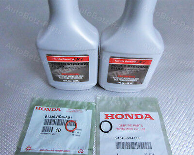OEM GENUINE HONDA Power Steering Pump Oil O-Ring Seals & Fluid - 4 pc Reseal Kit