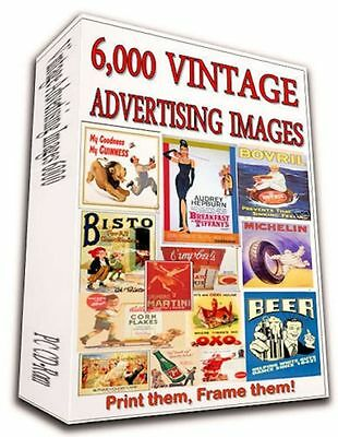 6000+ Vintage Advertising Posters Dvd- Alcohol Beauty Food Tobacco World War Art