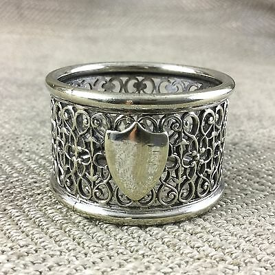 Antique Napkin Ring Holder Filigree Silver Plated Victorian 19th Century