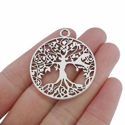 10pcs Antique Silver Tone Large Tree Life Round Charms Pendants 2 Sided 35mm