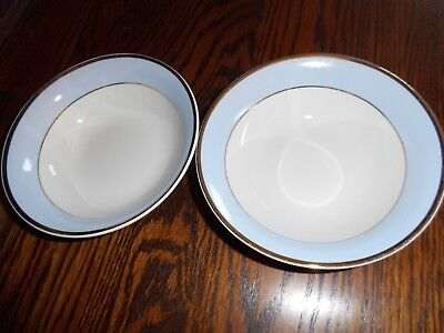 Royal Doulton Daily Mail blue/white china, gold rim - 2 x cereal bowls - NEW