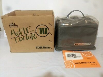 Vintage Walz Movie Editor III For 8mm Film Complete Tested Works w Book & Box ++