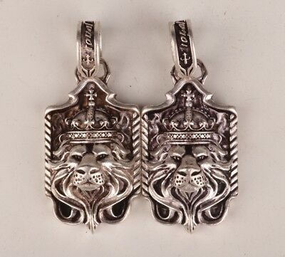 2 Rare Tibetan Silver Hand-Carved Old Lion King Statue Necklace Pendant
