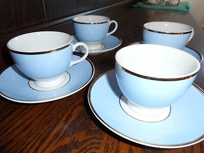 Royal Doulton Daily Mail blue/white china - 4 x cups and saucers - NEW