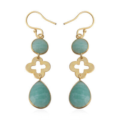 Goldtone Pear Amazonite Dangle Drop Earrings Gift Jewelry for Women and Girl