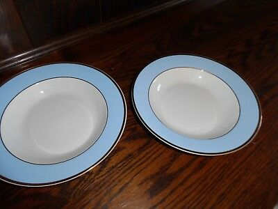 Royal Doulton Daily Mail blue/white china, gold rim - 2 x soup plates - NEW