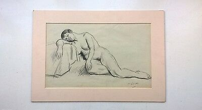 Philip Naviasky Signed Original Female Nude Life Portrait Study Charcoal Drawing