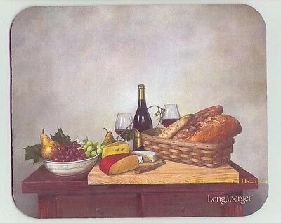 Longaberger Basket w loaves Bread Fruit in Bowl Wine n Cheese Mouse Pad 0 ship