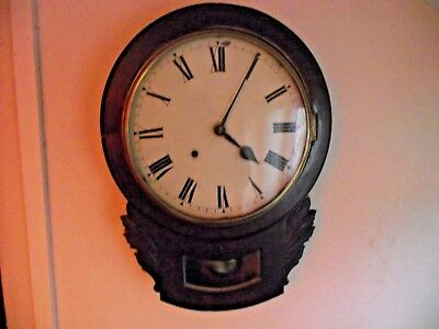 Antique Mahogany Round Wall Hanging Clock