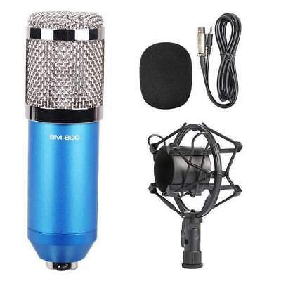 3.5mm Studio Recording Wired Condenser Sound Mic with Shock Mount- Blue