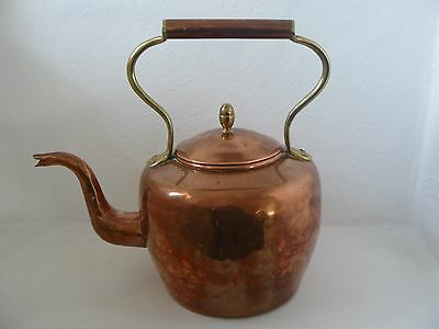 Antique Hammered Large Copper Kettle - Brass Detail Swan Neck & Dovetail Seams