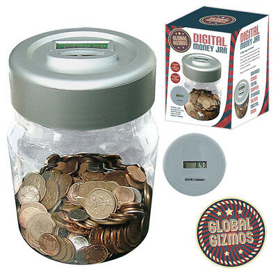 Electronic LCD Coin Money Counting Jar Box Savings Safe Digital Piggy Bank Gift