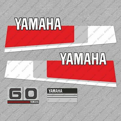 Yamaha 60 HP Blue Cowling 80's Outboard Engine Decals Sticker Set reproduction