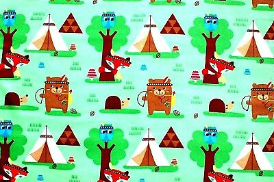 TEEPEE CAMPING ANIMALS ON GREEN BACKGROUND FLANNEL FABRIC 2 YDS, 42x72""
