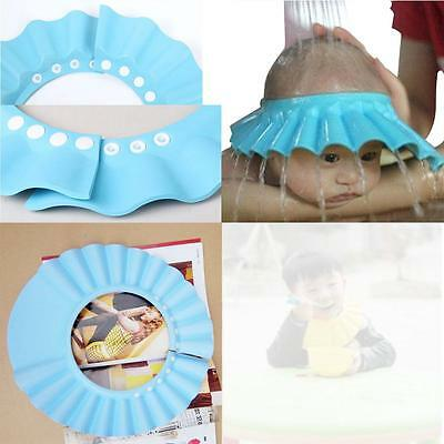 Baby Kid Toddler Adjustable Hair Wash Hat Shampoo Bath Shower Eye Shield Blue @T