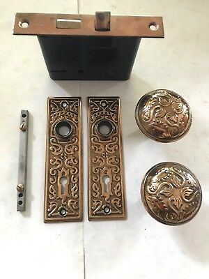 Set Antique Arts Craft Eastlake Victorian Brass Plate Door Knob & Plate Hardware