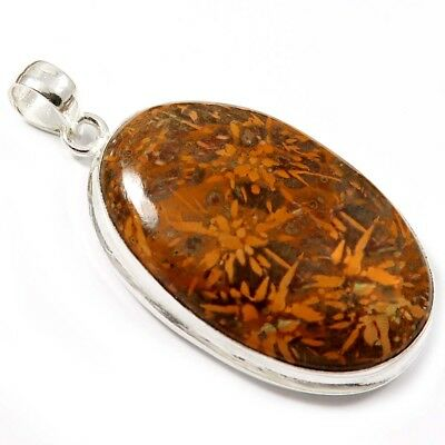 Natural Spider web Jasper Gemstone Pendant, Silver Plated Fashion Jewelry GPN-04