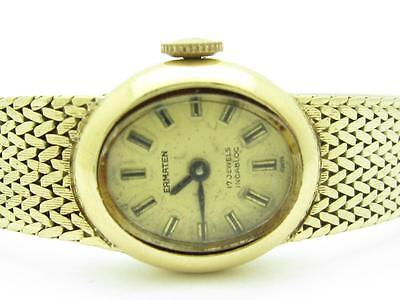 14k Yellow Gold Ermaten 17 Jewels Incabloc Vintage Estate Watch Excellent Cond