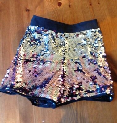 Marks And Spencer Girls Sequin Silver Shorts Age 7-8