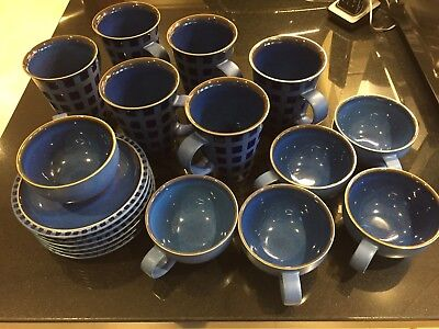 Denby Reflex Blue Set Of 6 Large Mugs and Set of 6 Cups and Saucers
