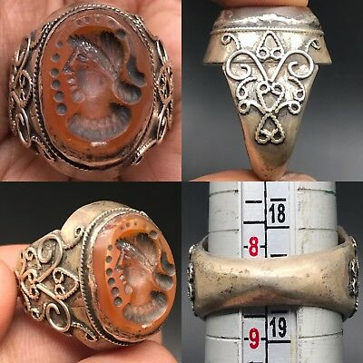 Ancient Roman face Agate intaglio Silver Seal stone Lovely Ring