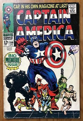 Marvel Captain America #100 #102 #107 (1st Silver Age Solo Book Apr 1968) VG+/-