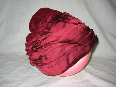 Vintage Beresford Hat Dark Red/Burgundy Satin/Velvet Fabric