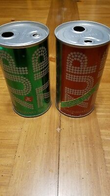 1970's 7up and Sugar Free 7up Push Button 12oz Steel Cans
