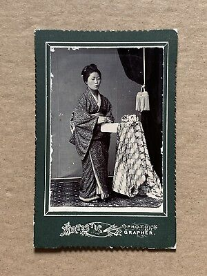 RARE Antique1900 Japan Old Photo Portrait Japanese Young Girl Calligraphy Geisha