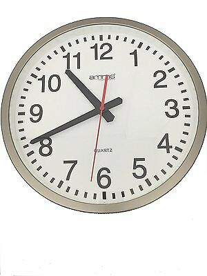 Amms Analogue White Dial Silver Case Round Wall Clock GD007160