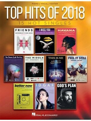 Top Hits Of 2018 Piano Vocal & Guitar Learn to Play Pop Chart Sheet Music BOOK