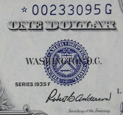$1 1935F STAR CU Silver Certificate *00233095G Series F One Dollar FREE SHIPPING