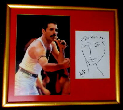 Looks; Freddie Mercury Ink Signed Print With Coa And Rare Picasso Drawing