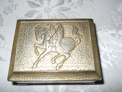 Vintage Metal Pegasus Cigarette Box / Jewelry Box w/ Wood Insert Occupied Japan